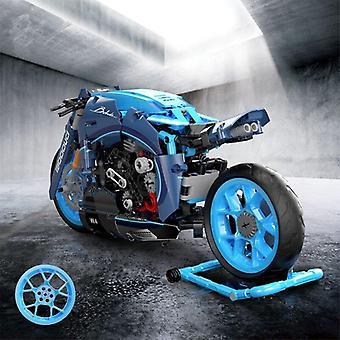 Technical Blue Motorcycle Assembling Model Building Blocks City Racing Car Locomotive Brick