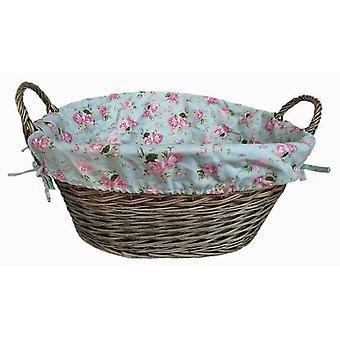 Lavage antique finition bordée panier de lavage avec Cottage Rose doublure