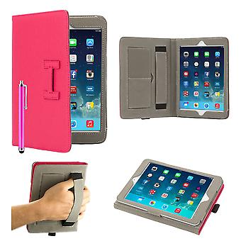 Hermes-Clip Buch Case Cover für Apple iPad 2/3/4 + Stylus-Stift - Hot Pink