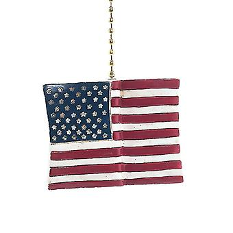 Red White Blue All American Flag Decorative Ceiling Fan Light Pull 3 Dimensional