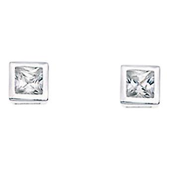 925 Silver Zirconia Square Earring