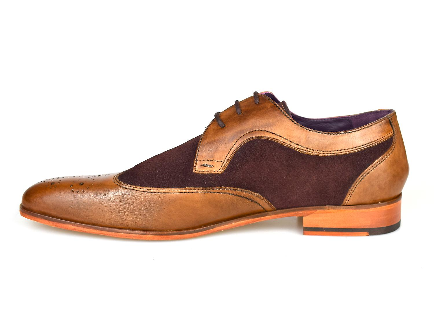 Gucinari Lansky Tan & Brown Leather Formal Brogue Shoes AMP16-1