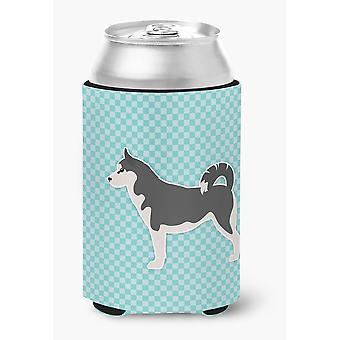 Siberian Husky Checkerboard Blue Can or Bottle Hugger