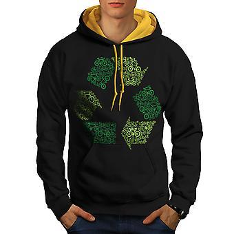 Green Art Eco Funny Men Black (Gold Hood)Contrast Hoodie | Wellcoda