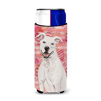 White Staffie Bull Terrier Love Michelob Ultra Hugger for slim cans