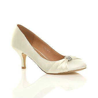 Ajvani womens midden hak ruched diamante bruiloft prom avond slimme Hof schoenen