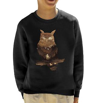 Owl silhouet Valley scène Kid's Sweatshirt