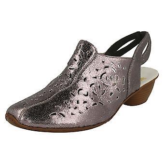 Каблуках Slingback дамы Rieker обувь 43769-90-металлизированная кожа - Великобритания 6 - ЕС размер 39 - США размер 8