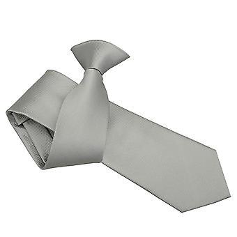 Silver Solid Check Clip On Slim Tie