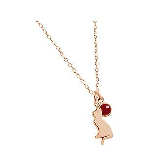 GEMSHINE halskæde kat, tømmermænd, Ruby. 925 sølv, forgyldt, rosen Pet
