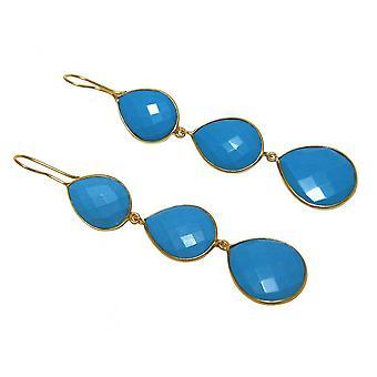 Gullbelagt øredobber - 925-9 cm - turkis - blå - drypp-