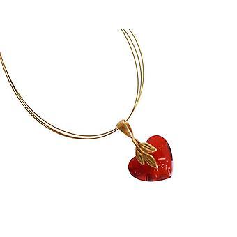 قلب قلادة قلب أحمر سلسلة إليشا القلب قلادة الذهب مطلي كريستال