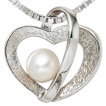 Heart pendant 925 sterling silver rhodium-plated part of ice Matt 1 Freshwater Pearl