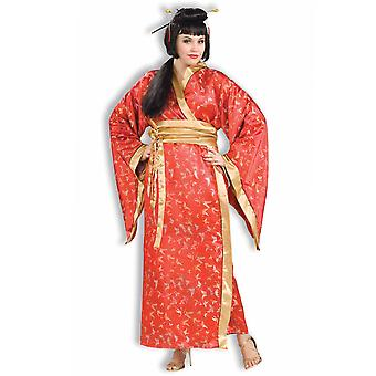 Madame Butterfly Geisha Japanese Japan Asian Red Kimono Womens Costume Plus
