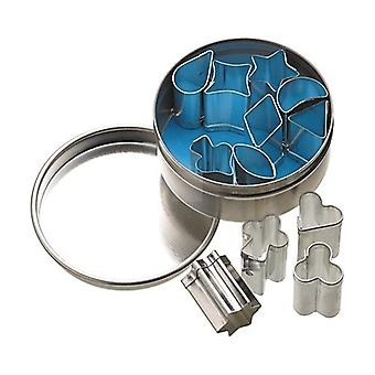 Sett med 12 Mini metall Cookie/glasur Cutters (1,5 cm) i lagring Tin