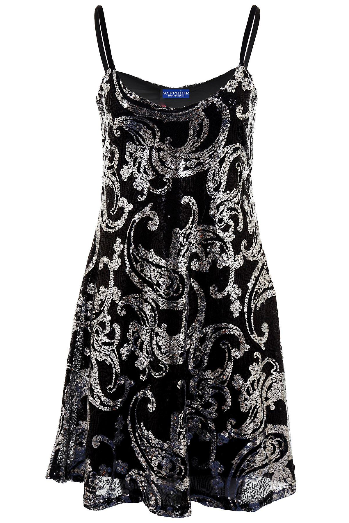 Ladies Sleeveless Strappy Sequin Paisley Lined Skater Flare Women's Party Dress