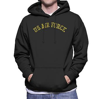 US Airforce Training Yellow Text Distressed Men's Hooded Sweatshirt