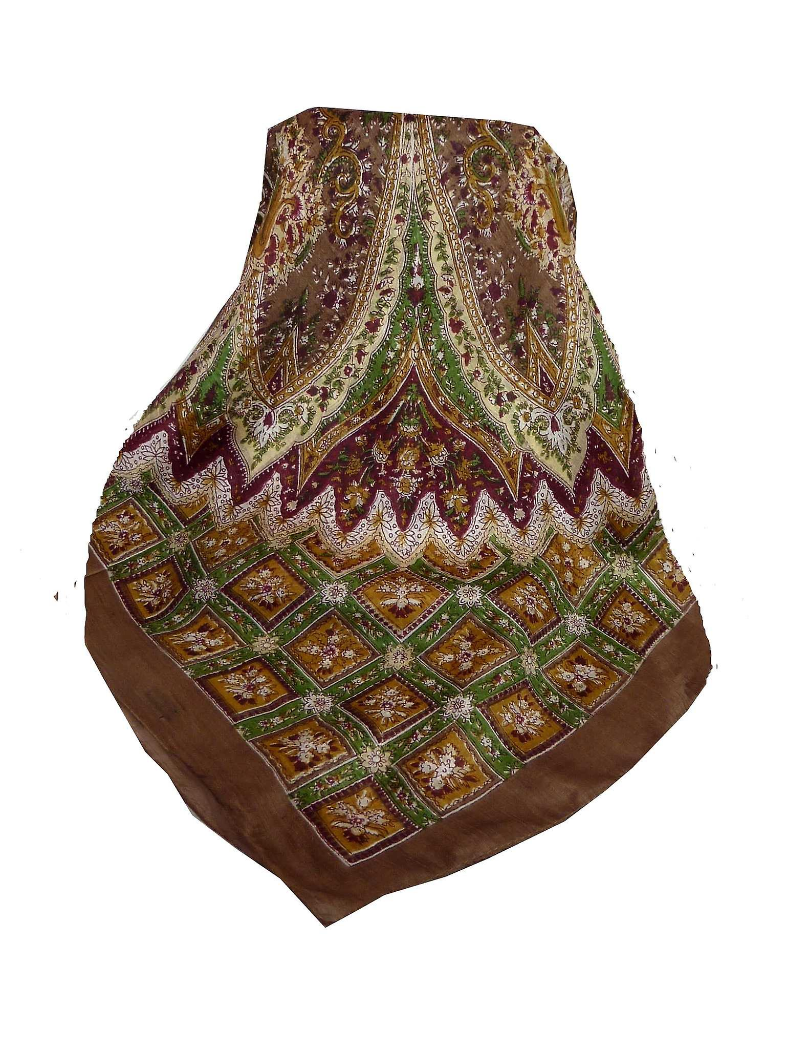 Mulberry Silk Traditional Square Scarf Nagal Coffee by Pashmina & Silk