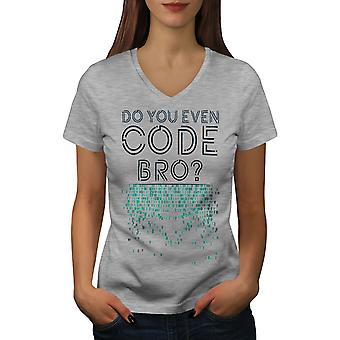 Do You Even Women GreyV-Neck T-shirt | Wellcoda