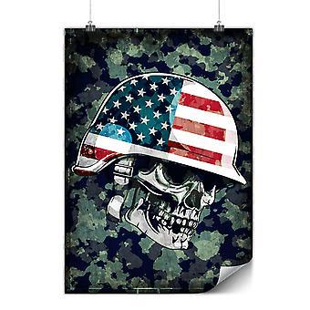 Matte or Glossy Poster with War Skull Biker Death USA   Wellcoda   *y679