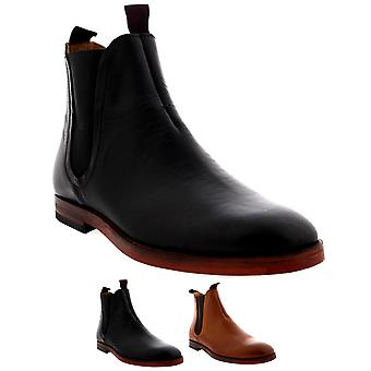 Mens H By Hudson Tamper Leather Elastic Smart Work Evening Chelsea Boots