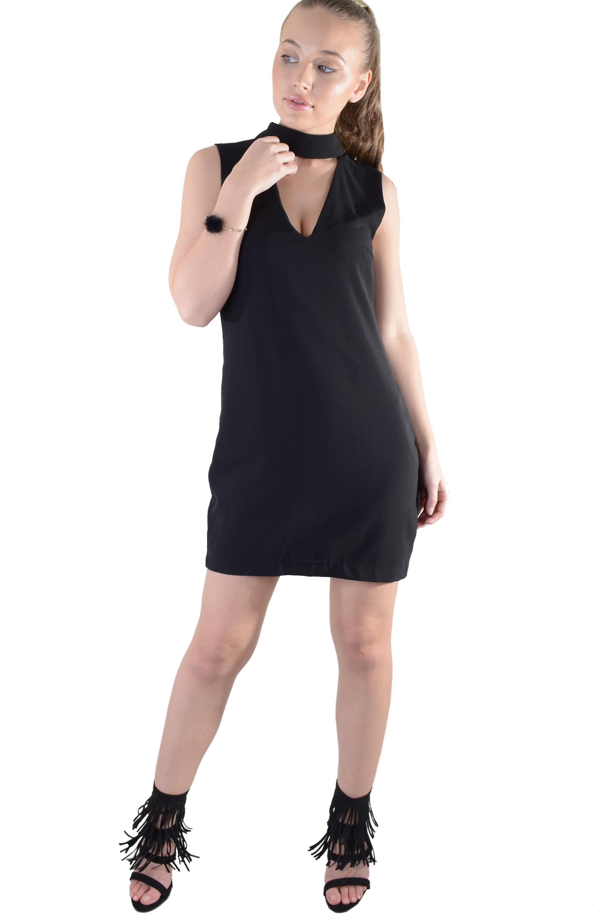 Lovemystyle Black Plunge Dress With Choker Detail - SAMPLE
