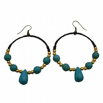 Trendy Fashion tricoté main cire Boucles Chord w / Perles d'or Turquoise