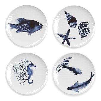 Epicurean Set of 4 Coastal Melamine Side Plates
