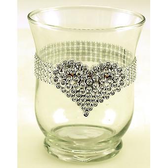 Lykta 2-PACK Glas Hjärta i strass 11cm