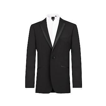 ・ ドベル メンズ黒のタキシード ディナー ジャケット レギュラー フィット ノッチ襟サテン トリム