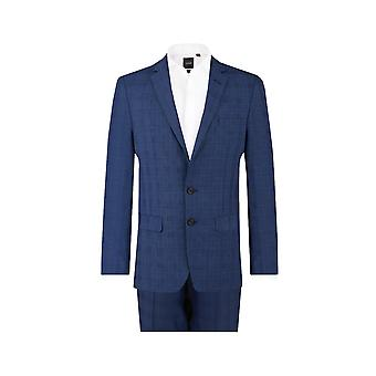Dobell Mens cheque azul 2 pieza traje Regular Fit muesca solapa