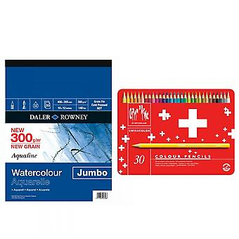 Caran D'Ache Swisscolour Water Soluble Pencils 30 Tin + Jumbo A4 Pad Bundle