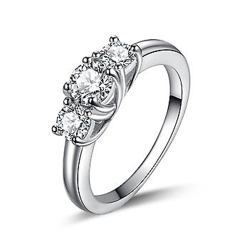 925 Sterling Silver Classic Trilogy Brilliant Round Cut Engagement Ring