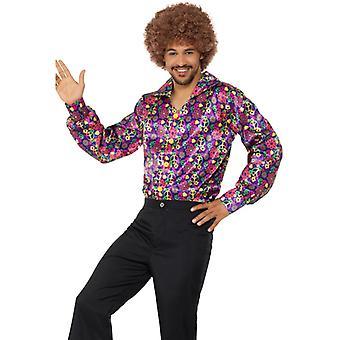 Kleurrijke 60s psychedelische CND shirt mannen hippie shirt carnaval thema party