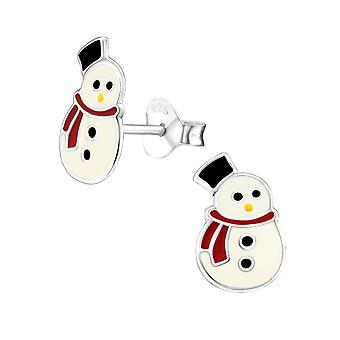 Snowman Sterling Silver and Epoxy Stud Earrings
