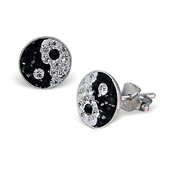 Brincos de prata esterlina e cristal Yin Yang Stud