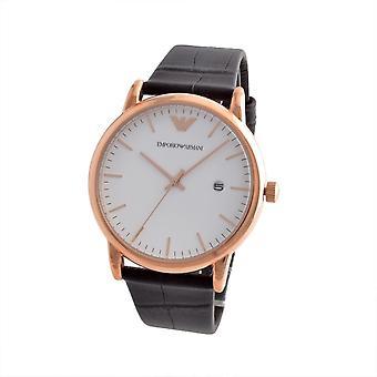 Emporio Armani Ar2502 goldtone gravado pulseira de couro Watch