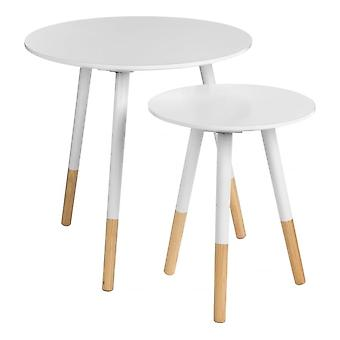 Fusion Living Białe okrągłe stoliki boczne z beech przechylonymi nogami