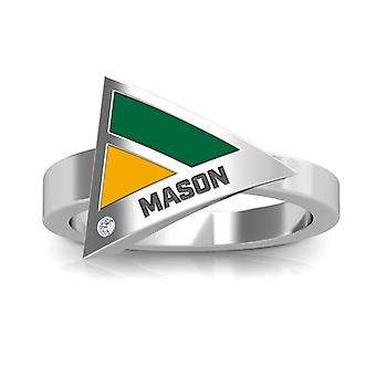 George Mason University Engraved Sterling Silver Diamond Geometric Ring In Green and Yellow