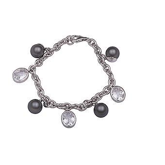 Bracelet 19Cm Zirconium/Synth Swarovski Pearl Grey