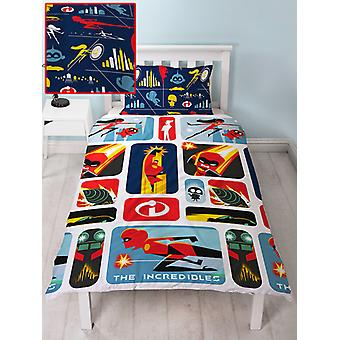 Incredibile 2 Retro Single Duvet Cover e Pillowcase Set
