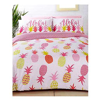 Cubierta de edredón de piñas tropicales y juego de funda de almohada