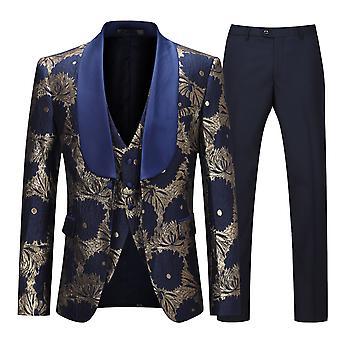 Allthemen Uomo Tuxedos 3-Pezzi Abiti Ricamato Abito Da Festa Giacca&Pantaloni&Vest