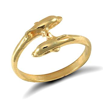 Jewelco London Girls Solid 9ct Yellow Gold Double Dolphin Crossover Torque Baby Ring