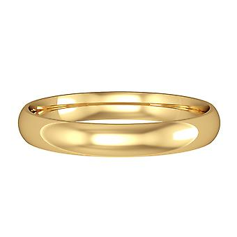 Jewelco London 9ct Yellow Gold - 3mm Essential Light Court-Shaped Band Commitment / Anello di nozze