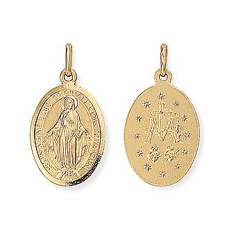 Jewelco London 9ct Gold Miraculous Madonna (Virgin Mary) Medallion Charm Pendant 13x26mm