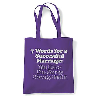 7 Words For A Successful Marriage, Funny Tote - Reusable Shopper Canvas Bag Gift