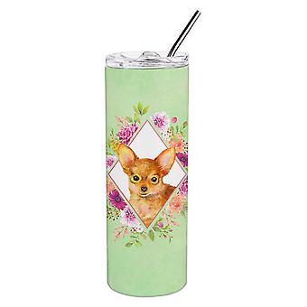 Spielzeug Terrier grüne Blumen Doppel wandbemauert Edelstahl 20 oz Skinny Tumbler