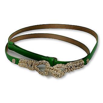 Isaac Mizrahi Live! Dun faux leder verfraaid groene riem nieuw
