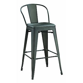 Metal bar stools with tapered legs and in-built footrest, bronze, set of two